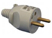 Fiche électrique mâle 2P+T 250V 16A grise