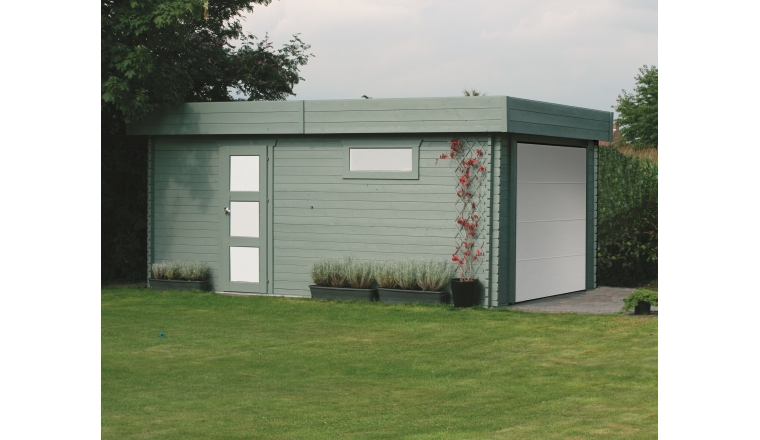 Garage en Bois MODERNE Solid 17.07 m² avec Porte Sectionnelle S8935