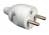 Fiche électrique mâle 2P+T 250V 16A blanche