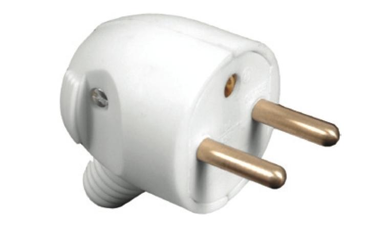 Fiche électrique mâle 2P+T 250V 16A blanche à sortie latérale