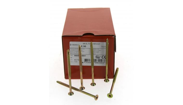 Boîte de 100 Vis à tête fraisée Torx  Ø 5 x 90 mm / 60 mm