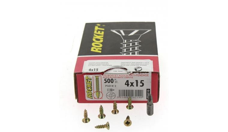 Boîte de 500 Vis à tête Fraisée Pozidriv Ø 4 de 15 à 50 mm ROCKET