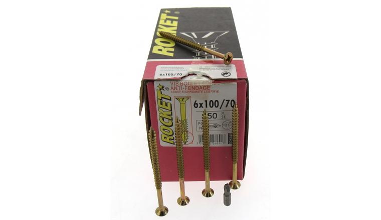 Boîte de 100 Vis à tête fraisée Pozidriv Filetage Partiel Ø 6 de 110 à 160 mm ROCKET
