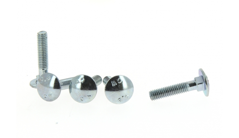 Lot de 4 Boulons Tête Ronde Collet Carré Inox Ø 6 de 40 à 70 mm ROCKET