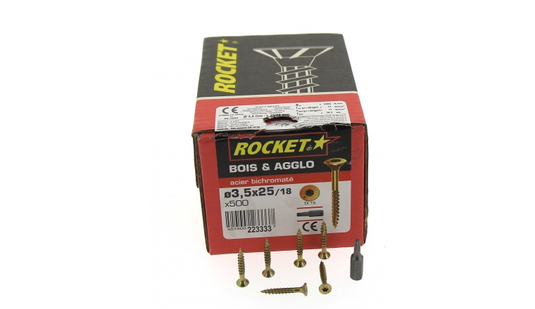 Boîte de 200 Vis à tête fraisée Torx filetage Partiel  Ø 4 x 40 mm / 22 mm ROCKET