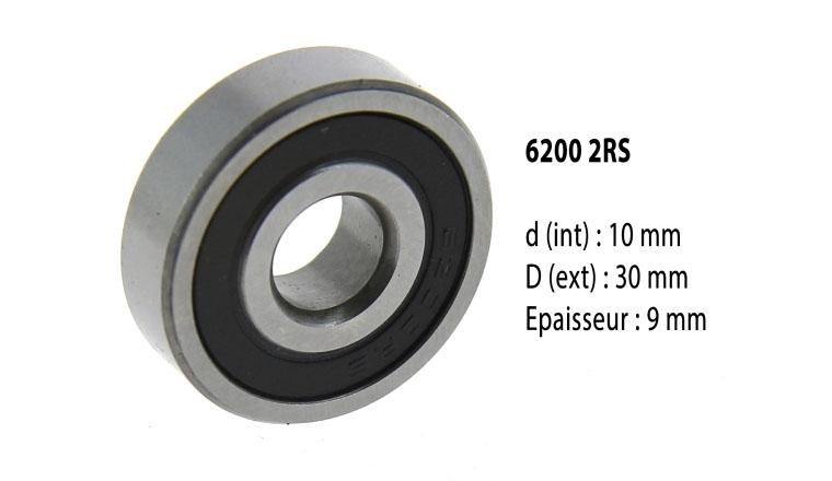 Roulement à billes étanche 6200 2RS - 10X30X9 mm