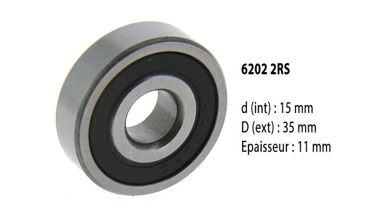 Roulement à billes étanche 6202 2RS - 15X35X11 mm
