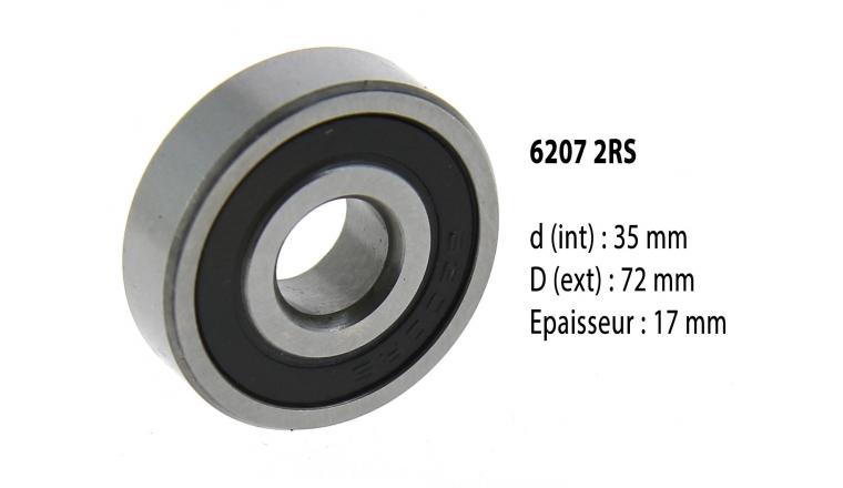 Roulement à billes étanche 6207 2RS - 35X72X17 mm