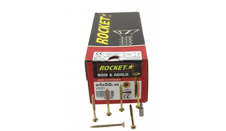 Boîte de 500 Vis à tête fraisée torx filetage partiel Ø 5 de 30 à 60 mm ROCKET