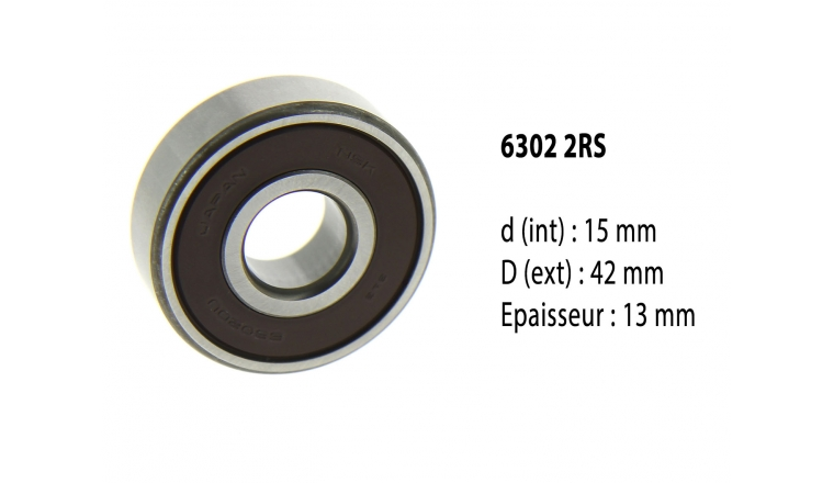 Roulement à billes étanche 6302 2RS - 15X42X13 mm