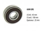 Roulement à billes étanche 6309 2RS - 45X100X25 mm