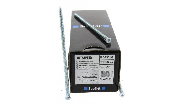 Boîte de 50 Vis de fixation à tête fraisée Torx laquée blanc Ø 7.5 x 182 mm SCELL-IT