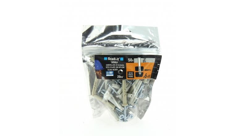 Bag de 50 Chevilles Yzzy Nylon à clouer Ø 6 x 40 mm SCELL-IT