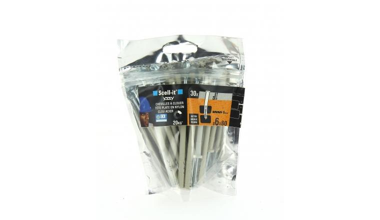 Bag de 30 Chevilles Tête Plate Yzzy Nylon à Clouer Ø 6 x 80 mm SCELL-IT