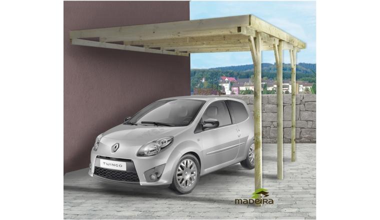 Carport en Bois Traité Adossé 1 véhicule GUS Madeira 15.77 m² Ref 2148