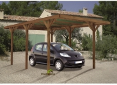 Carport en Bois Traité 1 Véhicule ENZO Madeira 15.72 m² Ref 3143