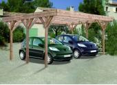 Carport en Bois Traité 2 Véhicules DOUBLE ENZO Madeira 30.86 m² Ref 2153