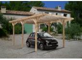 Carport en Bois Traité 1 Véhicule MAX Madeira 15.72 m² Ref 2158