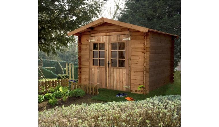 Abri de jardin en bois trait azur 23 05 m avec auvent et for Cabane de jardin en bois traite