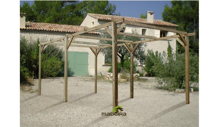 Carport en Bois Traité 1 Véhicule PACO Madeira 15.36 m² Ref 2303