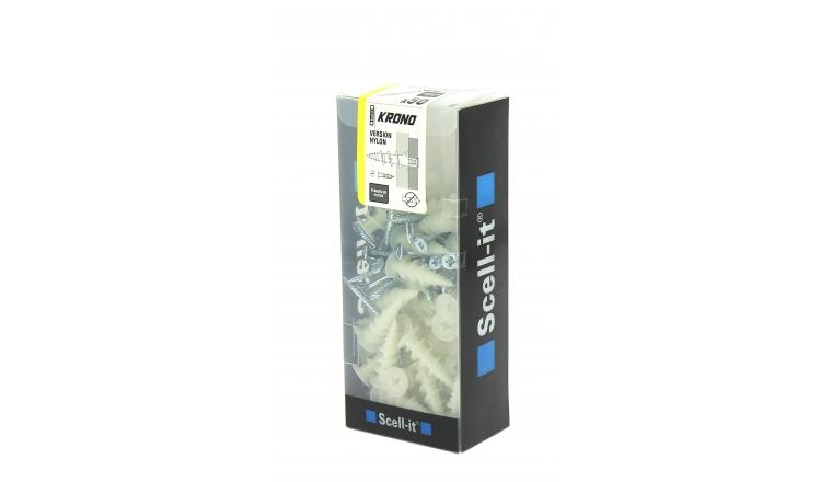Boîte de 50 Chevilles Autoperceuses Krono Nylon A Visser 37 mm SCELL-IT