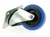 Roulette en caoutchouc élastique bleu à fixation Platine 4 points Ø 100 à 150 mm