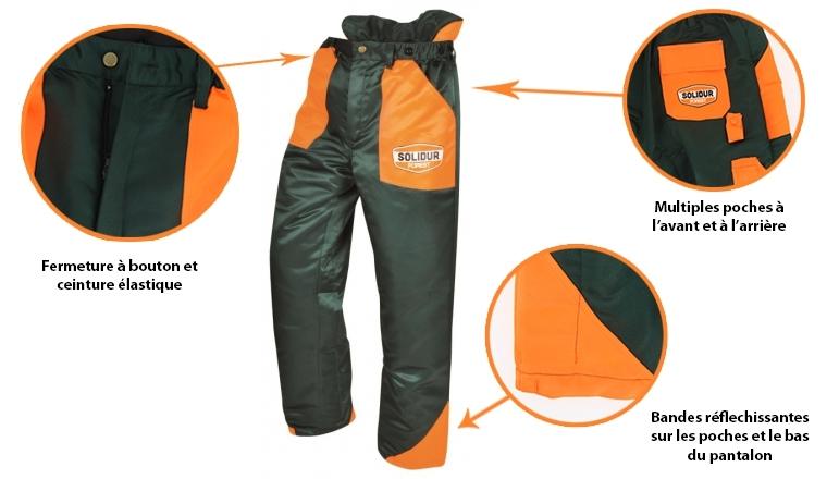 Pantalon de bûcheron XS à 3XL anti-coupure type A classe 1 d1f5a8ed00c4
