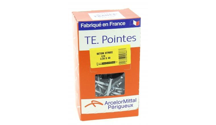 Boîte de 1000 g de Pointes striées pour Béton Tête Étroite Ø 3.5 mm de longueur 40 à 50 mm