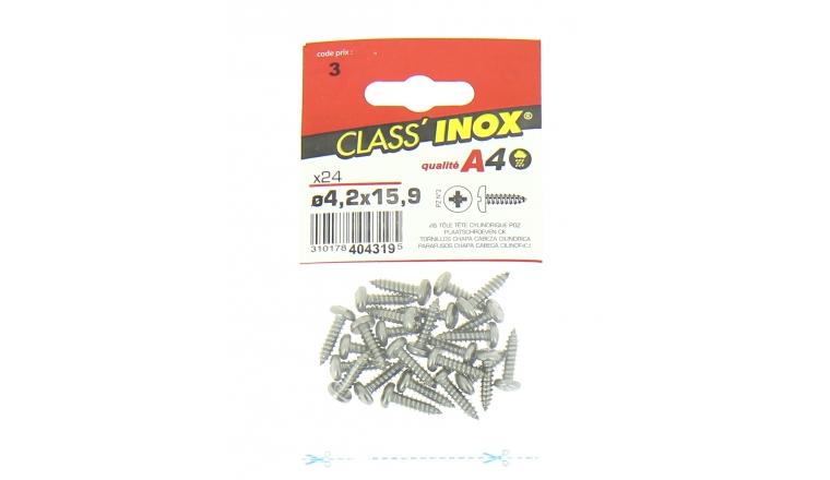 Sachet de 24 Vis tôle en Inox A4 Tête Cylindrique Ø 4.2 x 15.9 mm