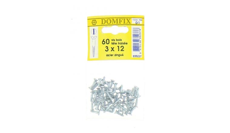 Sachet de 60 Vis à Bois en Acier Zingué à Tête Fraisée Ø 3 x 12 mm
