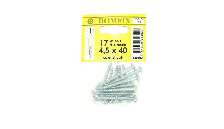 Sachet de 17 Vis à Bois en Acier Zingué à Tête Ronde Ø 4.5 x 40 mm