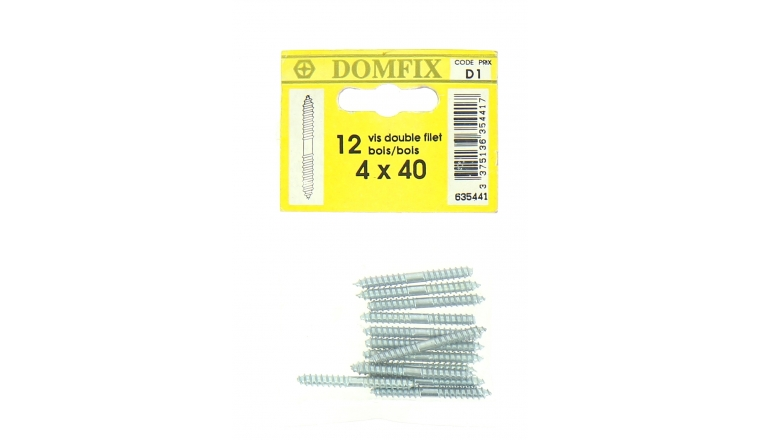 Sachet de 12 Vis à Bois Double Filetage Ø 4 x 40 mm