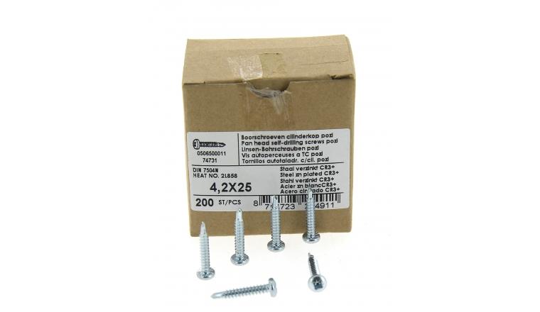 Boîte de 200 Vis à tête cylindrique pozidriv Ø 4.2 x 25 mm