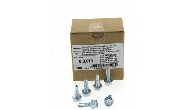 Boîte de 100 Vis à tête hexagonale Ø 6.3 x 25 mm