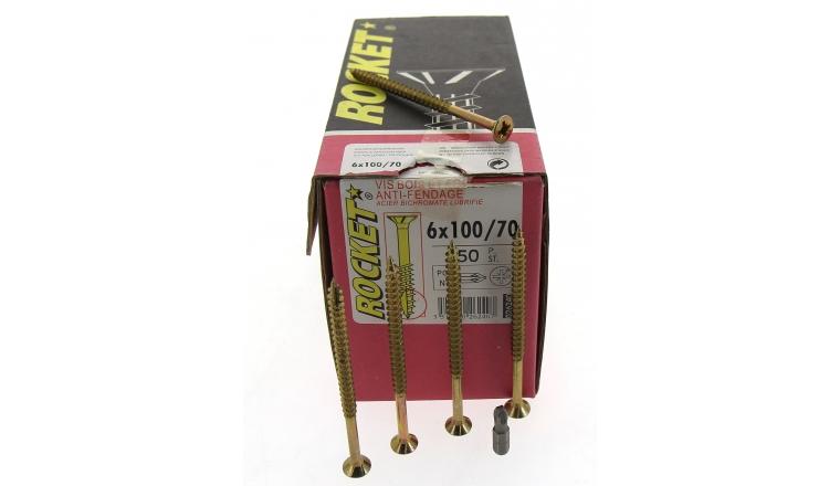 Boîte de 200 Vis à tête fraisée Pozidriv Filetage Partiel Ø 5 x 70 mm ROCKET