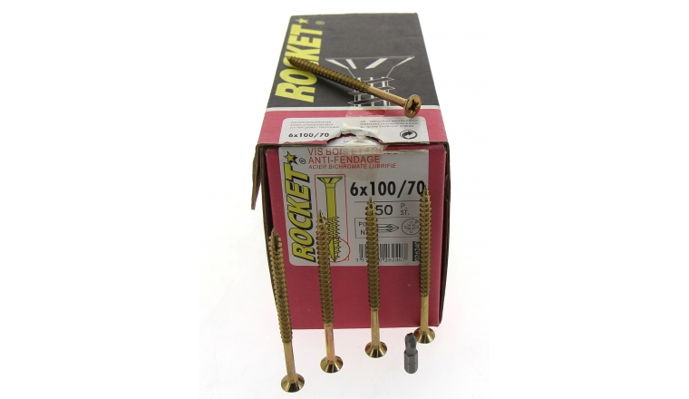 Boîte de 200 Vis à tête fraisée Pozidriv Filetage Partiel Ø 5 x 90 mm  ROCKET