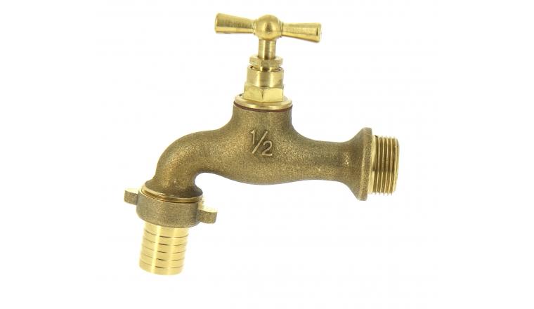 Robinet à Clapet en Laiton muni d\'un Nez de robinet en Laiton Entrée et sortie Mâle 20X27 Ref 2103339 - Boutté