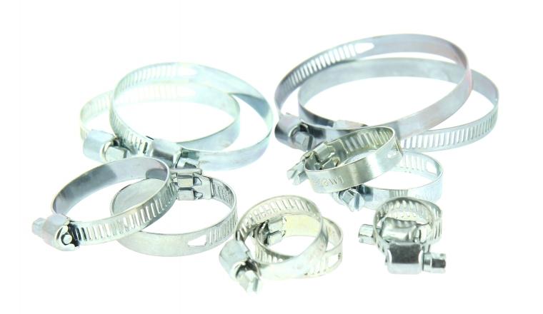 Assortiment de 12 Colliers de serrage en Acier Fixation Plate, Largeur 8 mm Ø du tuyau de 10 à 67 mm - Boutté