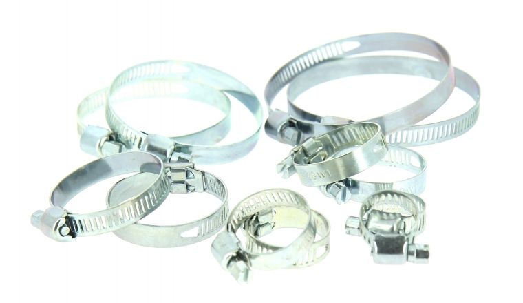assortiment de 12 colliers de serrage en acier fixation plate largeur 8 mm du tuyau de 10. Black Bedroom Furniture Sets. Home Design Ideas