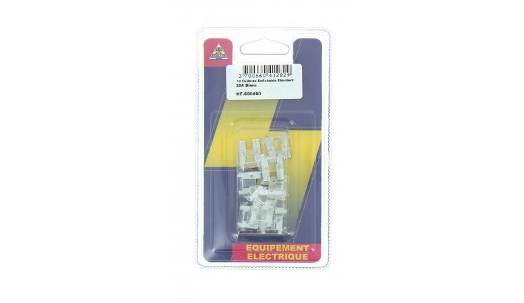 Lot de 10 Fusibles 25 A 2 Fiches Blanc Ref HF600460 - Casteels