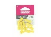 Lot de 10 Clips à Sertir Femelle Isolés Jaune pour Fil de 2.5 à 6 mm² ref 711048 - Debflex
