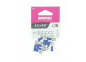 Lot de 10 Clips à Sertir Femelle Pré-isolés Bleu pour Fils de 1.5 à 2.5 mm² Ref 711043 - Debflex