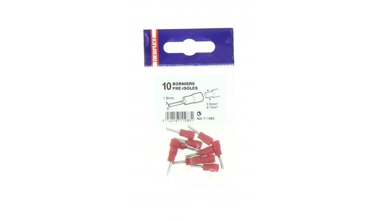 Lot de 10 Connections Borniers Pré-Isolées Rouge pour Fil de 0.5 à 1 mm² Ref 711083 - Debflex