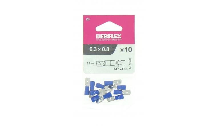 Lot de 10 Clips à Sertir Mâle Pré-Isolés Bleu pour Fil de 1.5 à 2.5 mm² Ref 711052 - Debflex