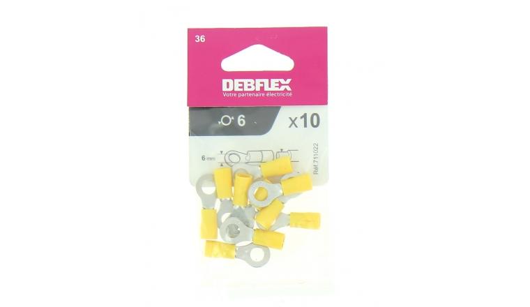 Lot de 10 Cosses à Sertir Ronde Ø 5 à 8 mm Pré-isolées Jaune pour Fil de 2.5 à 6 mm² - Debflex