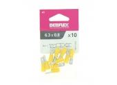 Lot de 10 Clips à Sertir Mâle Pré-Isolés Jaune pour Fil de 2.5 à 6 mm² Ref 711053 - Debflex
