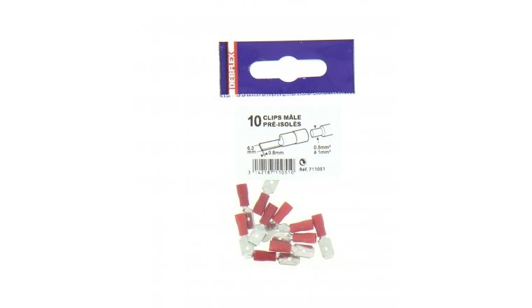 Lot de 10 Clips à Sertir Mâle Pré-Isolés Rouge pour Fil de 0.5 à 1 mm² Ref 711051 - Debflex