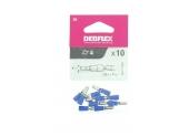 Lot de 10 Douilles à Sertir Mâle Pré-isolées Bleue pour Fil de 1.5 à 2.5 mm² Ref 711060 - Debflex