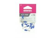 Lot de 10 Clips à Sertir Mâle/Femelle Pré-isolés Bleue pour Fil de 1.5 à 2.5 mm² Ref 711056 - Debflex