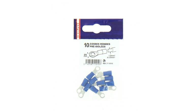 Lot de 10 Cosses à Sertir Ronde Ø 4 à 8 mm Pré-isolées Bleue Pour Fil de 1.5 à 2.5 mm² - Debflex